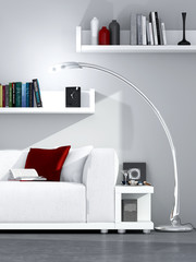 Helles modernes Wohnzimmer mit Bücherregal