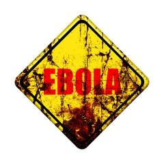 Ebola virus  yellow road sign on white background