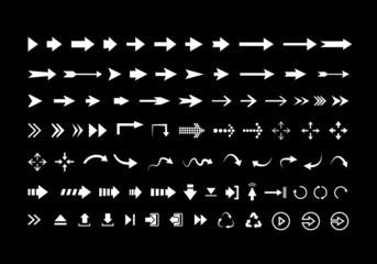 Big set of different vector  white arrows isolated on black back