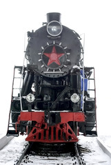 Retro Red Black locomotive with star isolated