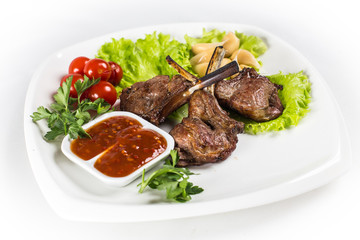 Roasted lamb chops with greens
