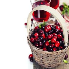 Cranberries and juice