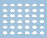 Big vector set of thirty-six white cloud  shapes poster