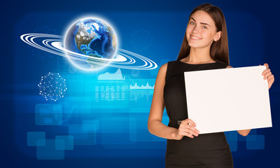 Businesswoman hold paper sheet. Earth and graphs