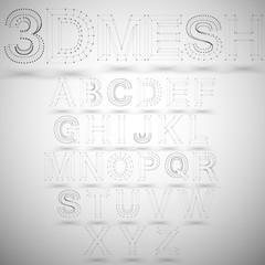 Three dimensional mesh stylish alphabet on white background,