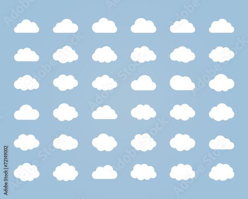 Zdjęcia na płótnie, fototapety, obrazy : Big vector set of thirty-six white cloud  shapes