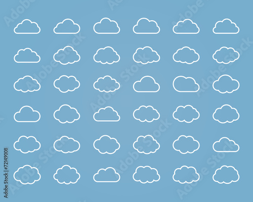Big vector set of thirty-six white line cloud  shapes