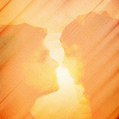 loving couple kissing at sunset, beautiful wooden vector