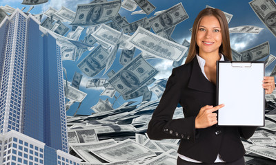 Bisinesswoman hold paper holder. Buildings and money