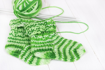 Baby knitting socks