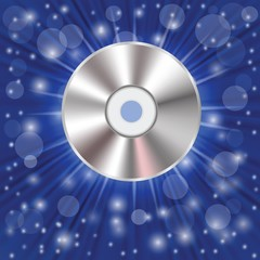 CD on a blue background