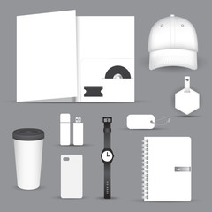 Set of blank merchandising