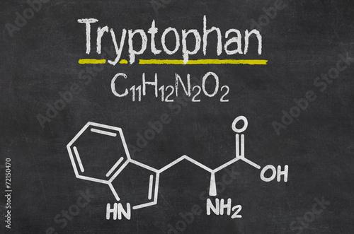 Leinwandbild Motiv Schiefertafel mit der chemischen Formel von Tryptophan
