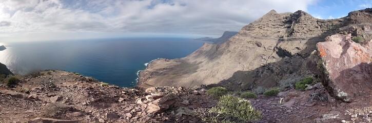 Panoramic view of rocky mountain peaks