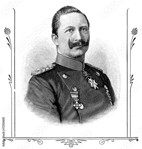Retro Portrait of Wilhelm II, German Emperor.
