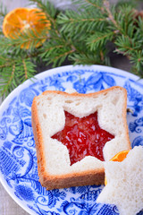 Romantic and healthy breakfast  slices of wholewheat toast with