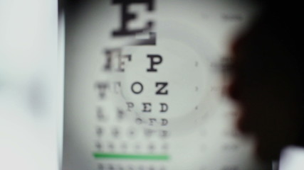 Eyesight examination, optometrist choosing lenses for glasses