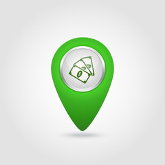 Vector location green icon with money sign
