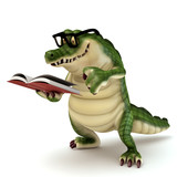 Croc reading book poster