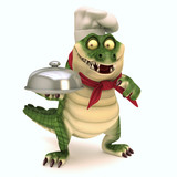 Croc with food basket poster