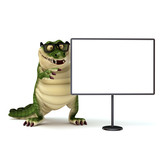 croc with with board poster