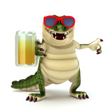 Croc with glass of beer poster