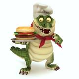 Croc showing burger poster