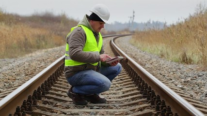 Engineer working with tablet PC