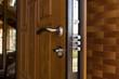 Leinwandbild Motiv New steel three bolt door lock