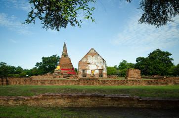 Buddha in temple of Wat Worachatha Ram Ayutthaya ,Thailand.