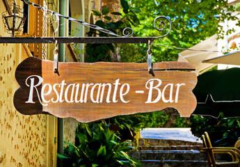 Restaurant - Bar - Schild