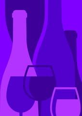 silhouette de bouteilles et verres de vin