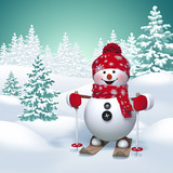 Fototapety 3d funny snowman skiing, winter nature background