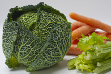 Savoy Cabbage, Celery and Carrots