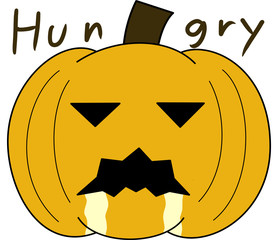 vector pumpkin face cartoon emotion expression hungry