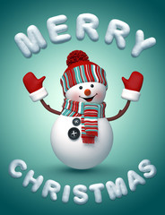 3d happy snowman wishing a Merry Christmas illustration