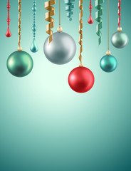 Christmas holiday glass balls decoration background