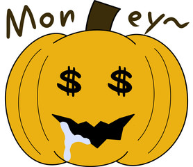 vector pumpkin face cartoon emotion expression greed