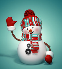 3d happy snowman, winter holiday symbol illustration
