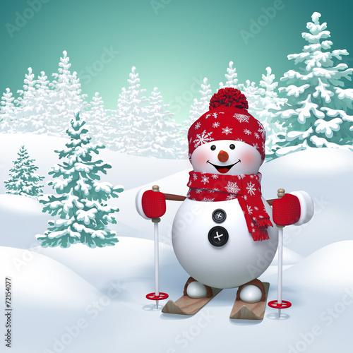 Papiers peints Glisse hiver 3d funny snowman skiing, winter nature background