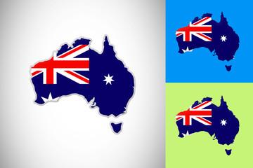 australia map flag symbol nation vector design