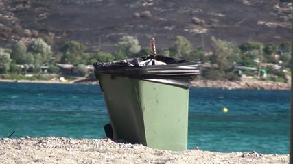 Rubbish Bin at Beach