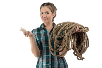Portrait of positive woman with the soap and twine