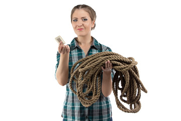 Photo of positive woman with the soap and twine