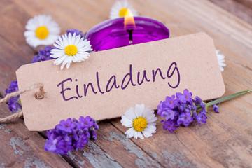 Einladung - Karte mit Blüten und Teelicht