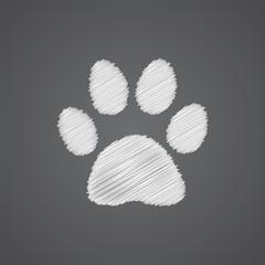 cat footprint sketch logo doodle icon.