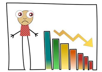 Barres graphiques en baisse