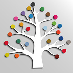 Paper tree, colorful circles, infographic abstract background