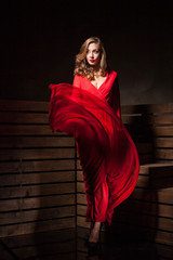 Beautiful Sensual Woman in Long Fashion Red Dress