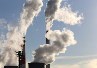 Coal burning power plant with smoke stacks, Moscow, Russia